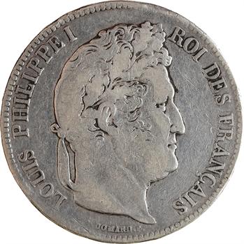 Louis-Philippe Ier, 5 francs IIe type Domard, 1837 Lyon