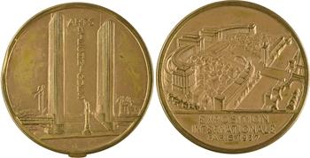 IIIe République, médaille boîte souvenir de l'Exposition des Arts et Techniques de Paris (10 photos), 1937