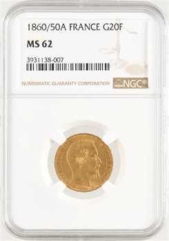 Second Empire, 20 francs tête nue, 1860/50 Paris, NGC MS62