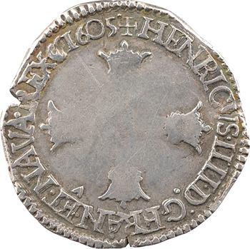 Henri IV, huitième d'écu, croix bâtonnée et couronnée de face, 1605 Saint-Lô
