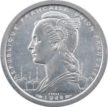 Madagascar, essai-piéfort 2 francs, 1948 Paris