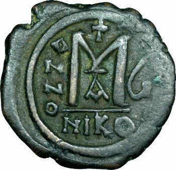 Maurice-Tibère, follis, Nicomédie, An 6 (587-588)