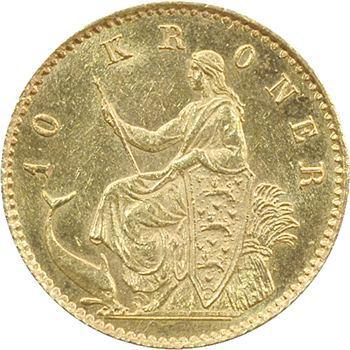 Danemark, Christian IX, 10 Kroner ou couronnes, 1877 Copenhague