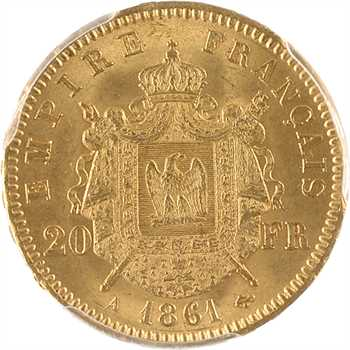Second Empire, 20 francs tête laurée, 1861 Paris, PCGS MS64