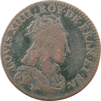 Louis XIV, liard à l'L couronnée, 2e type, 1654 Corbeil