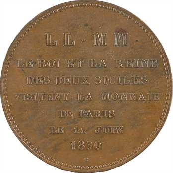 Charles X, Roi et Reine des Deux-Siciles, visite de la Monnaie de Paris, 1830 Paris