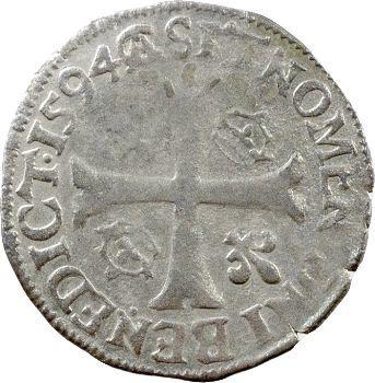 Charles X, douzain aux 2 C, 2e type, 1594 Riom