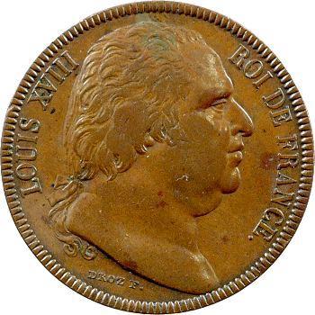 Louis XVIII, essai de 40 francs en bronze par Droz, 1815 Paris