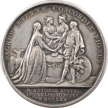 Louis XV, mariage du dauphin Louis (XVI) et de Marie-Antoinette par Duvivier, 1770 Paris
