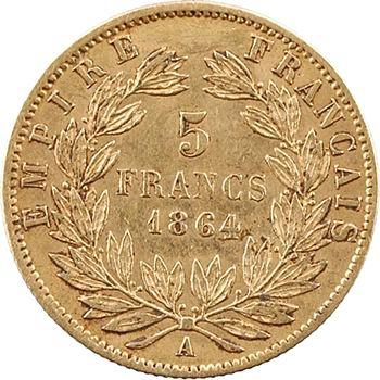 Second Empire, 5 francs tête laurée, 1864 Paris