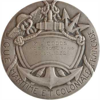 Aviation : Ligue maritime et coloniale, à Paul Codos, raid Saïgon-Paris, 1932 Paris
