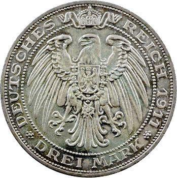 Allemagne, Prusse (royaume de), Guillaume II, 3 mark d'hommage, 1911 Berlin