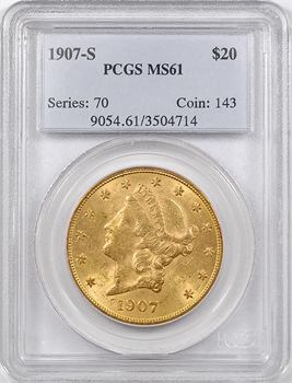 États-Unis, 20 dollars Liberté, 1907 San Francisco, PCGS MS61