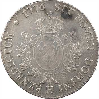 Louis XVI, écu aux branches d'olivier, 1776 Toulouse