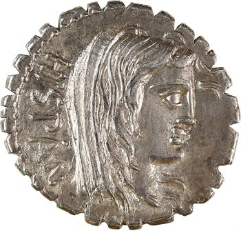 Postumia, denier serratus, Rome, 81 av. J.-C