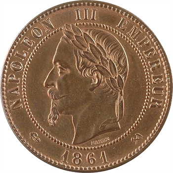 Second Empire, dix centimes tête laurée, 1861 Bordeaux