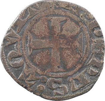 Aquitaine (duché d'), Édouard IV, le Prince noir, denier au léopard 1er type, Poitiers