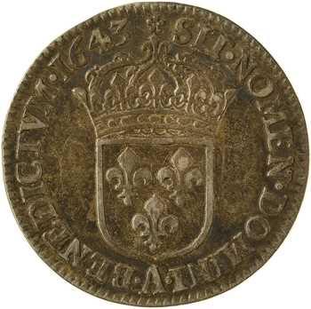 Louis XIII, douzième d'écu d'argent, 3e type (2e poinçon), 1643 Paris (rose)