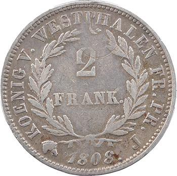 Allemagne, Westphalie (royaume de), Jérôme Napoléon, 2 franken, 1808 Cassel