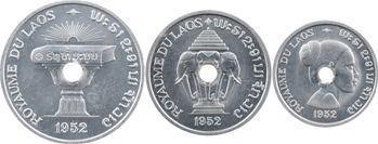 Laos (Royaume du ), coffret de trois essais de 10, 20 et 50 cents, 1952 Paris