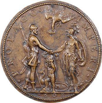 Henri IV, Marie de Médicis et le Dauphin par G. Dupré, 1603, fonte ancienne