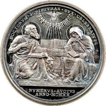 Vatican, Benoît XV, médaille annuelle, Saint Jérôme et Saint Ephrem, 1920