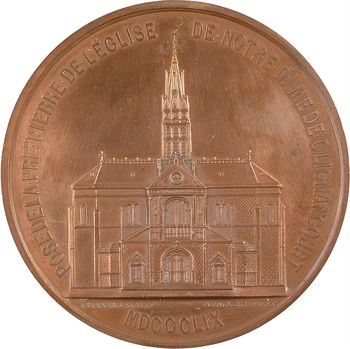 Second Empire, première pierre de Notre-Dame de Clignancourt, par Montagny, dans sa boîte, 1859 Paris