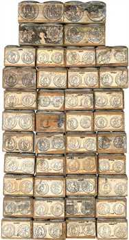Lot de 49 tampons d'imprimerie pour les illustrations de l'ouvrage de Belfort (A. de), Description générale des monnaies mérovingiennes (1892-1895), c.1892