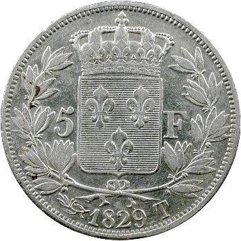Charles X, 5 francs 2e type, 1829 Nantes