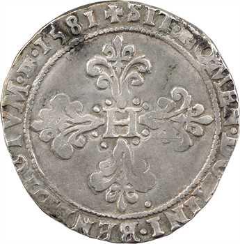 Henri III, franc au col plat, 1581 Troyes