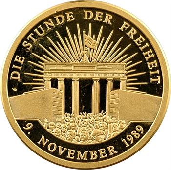 Allemagne, chute du Mur de Berlin le 9 novembre, médaille en or PROOF, 1989