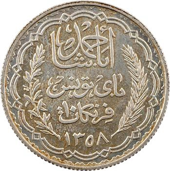 Tunisie (Protectorat français), Ahmed, essai de 10 francs, AH 1358 (1939) Paris