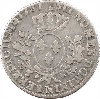 Louis XVI, cinquième d'écu aux branches d'olivier, 1787 Montpellier