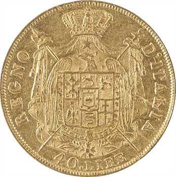 Italie, Napoléon Ier, 40 lire tranche en creux, 1811/01 Milan, variété axe décalé