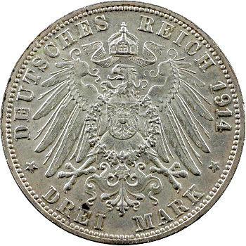 Allemagne, Bade (Grand-duché de), Frédéric II, 3 mark, 1914 Karlsruhe