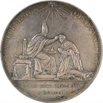 Charles X, sacre à Reims le 29 mai 1825, par Gayrard, grand module, argent, 1825 Paris
