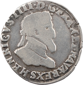 Henri IV, quart de franc, 1596 Troyes