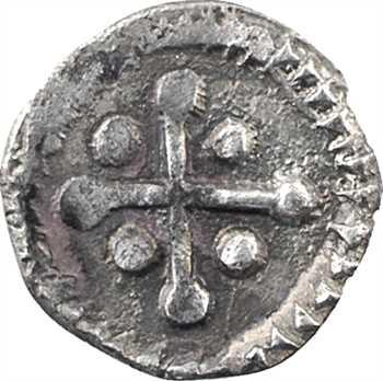 Neustrie, Paris ?, denier à la croix ancrée et croix bouletée, c.700