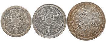 IIIe République, lot de 3 essais de 5, 10 et 25 centimes Chambre de Commerce de Dijon, 1918