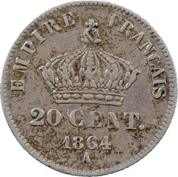 Second Empire, 20 centimes tête laurée petit module, 1864 Paris