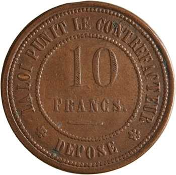 IIIe République, 10 francs contre-monnaie, frappe médaille, 1873 Paris