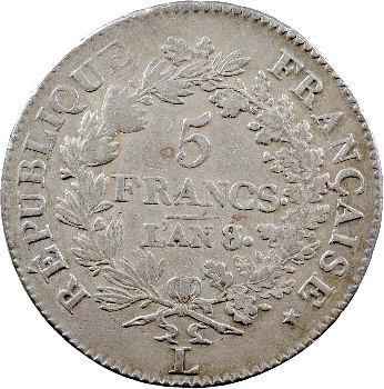 Directoire, 5 francs Union et Force, An 8 Bayonne