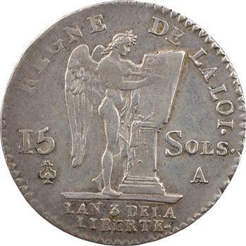 Constitution, 15 sols FRANÇOIS, An 3, 2d semestre (héron), 1791 Paris