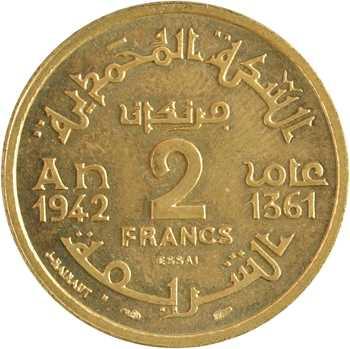 Maroc, Mohammed V, essai de 2 francs, AH 1361 (1942) Paris