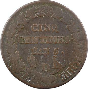 Le Directoire, cinq centimes Dupré, refrappage du décime, An 5 Lyon