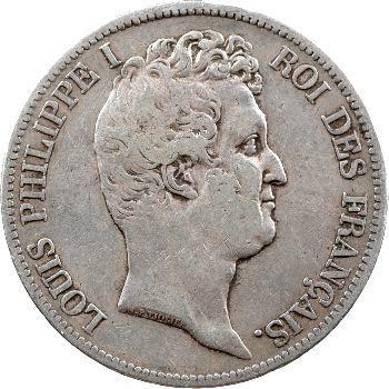Louis-Philippe Ier, 5 francs Tiolier avec le I, tranche en creux, 1831 Nantes