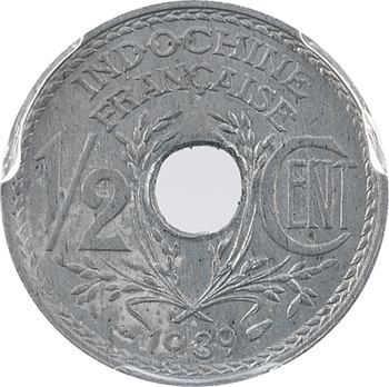 Indochine, 1/2 centième zinc, coque PCGS MS63, 1939 Paris