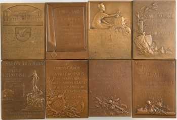 IIIe République, lot de 8 plaques de mandats de conseillers municipaux, par Baudichon, Dautel, Nocq, Prud'homme, etc., 1908-1923 Paris