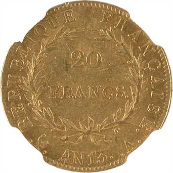 Premier Empire, 20 francs calendrier révolutionnaire, An 13 Paris, NGC AU58