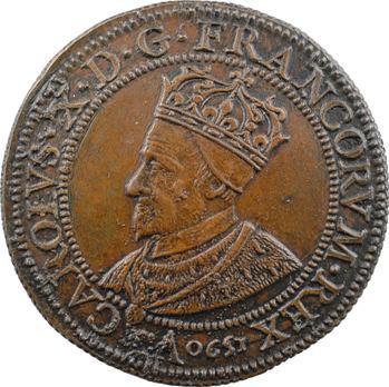Charles X, le cardinal de Bourbon et les instruments régaliens du sacre, 1590, frappe XIXe s.